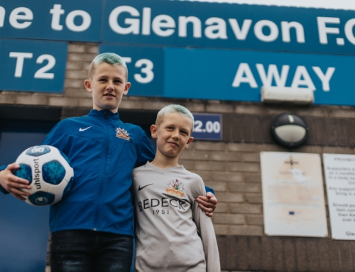 Glenavon fans Sam and Bobby help launch new NIFL uhlsport match ball